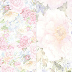 Craft Creations Scrapbook Paper Large Pink Pastel Roses Flowers 12