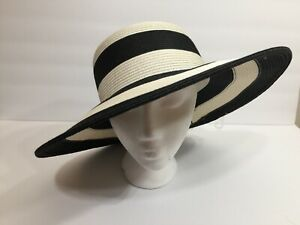 ef5a991c605 Croft and Barrow Black White striped wide brim sun hat - packable ...