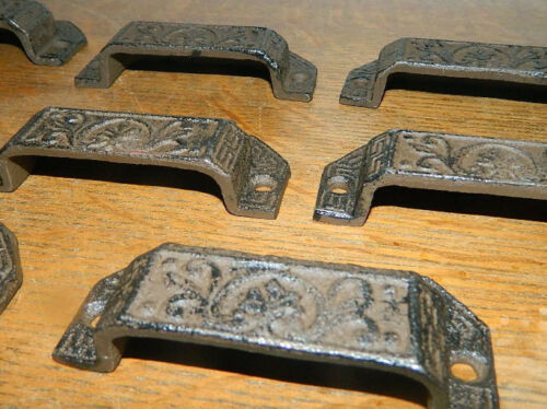 Set//8 Ornate Cast Iron Industrial Tool Seed Index File Bin Pull or Handles