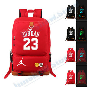Image Is Loading Jordan 23 Basketball Printed Luminous Shoulder Backpack Book