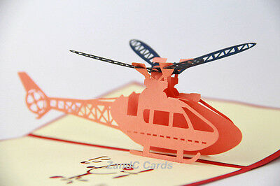 Helicopter 3D Pop Up Greeting Handmade Kirigami Cards All Occasion