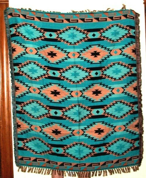 Super Soft Woven Blanket Southwest Geometric 4'x5' Reversible Turquoise D