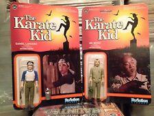 Daniel Larusso & Mr. Miyagi The Karate Kid ReAction Figures Funko MOC X2 WAX ON!