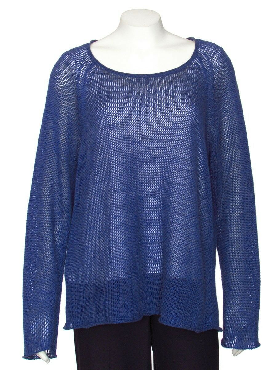 PRICE REDUCED  Eileen Fisher Muted Cobalt 100% Linen Open Knit Sweater sz L