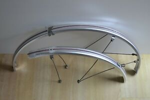 Vintage-Silver-Grey-Pink-Full-Length-Plastic-Mudguards-40mm-700c-Front-Rear-Pair