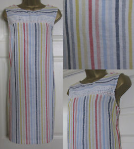 NEW-Next-Shift-Tunic-Dress-Linen-Blend-Sleeveless-Summer-Pink-Blue-Striped-6-22