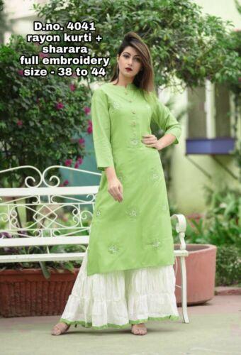 Indian Kurta with Palazzo Kurti Ethnic Dress Set Women Top Tunic Bottom Pant New