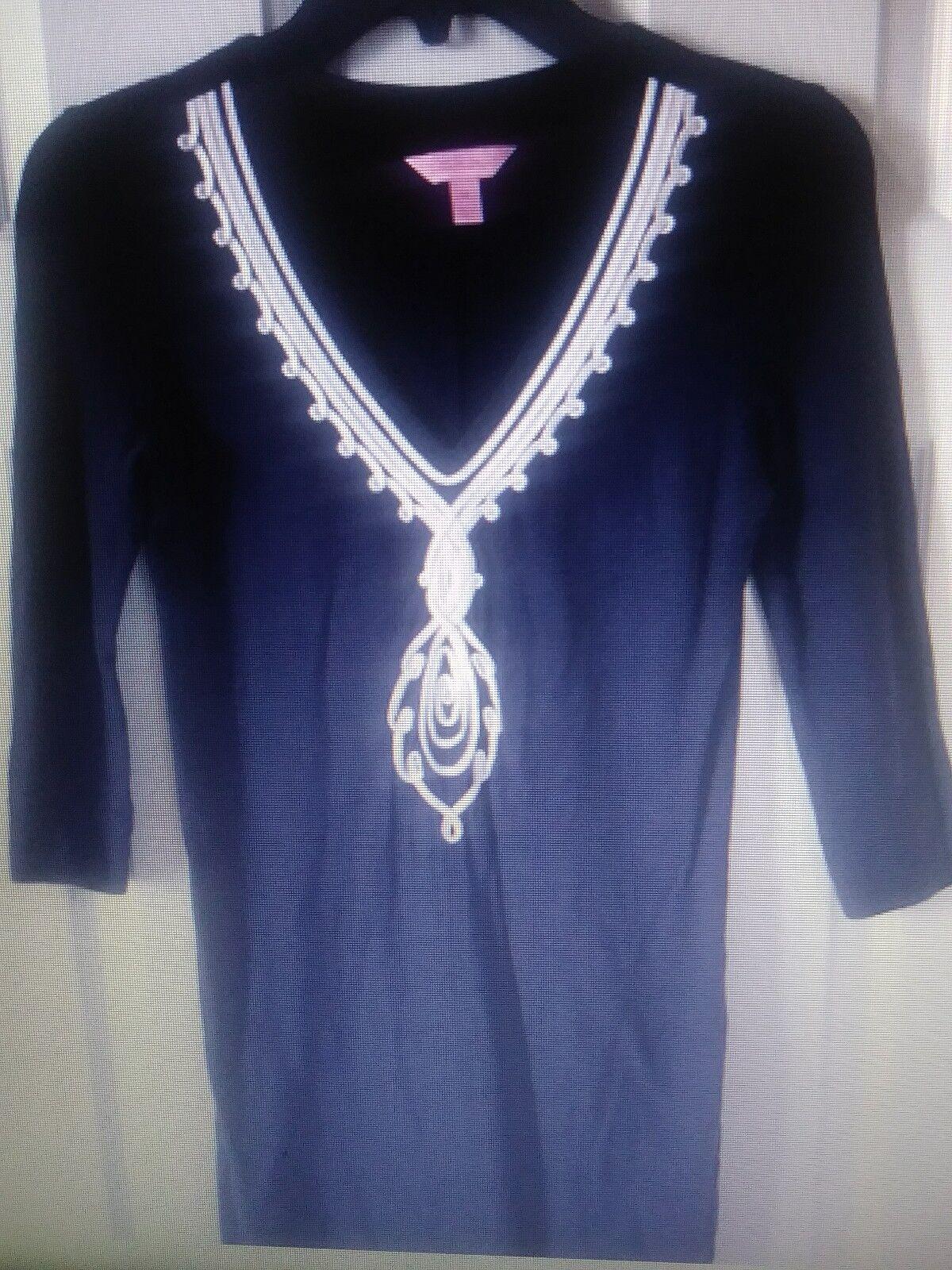 Lilly Pulitzer Clarkson Kleid Weiß Bestickt Marineblau Größe Xs