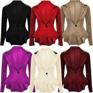 New Womens Plus Size Gold Studded Peplum Blazer Jacket Womens ...