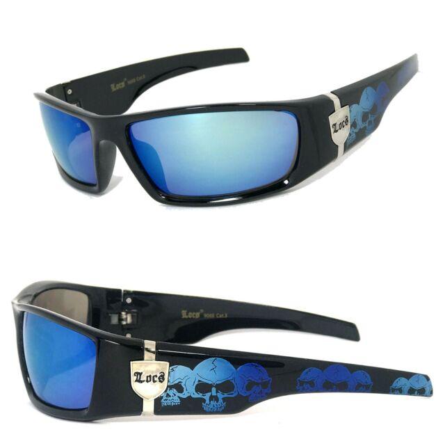 Gratis Etui Locs Herren Cholo Sonnenbrille Mit Weißer Rahmen Blau Linse LC74