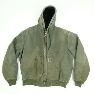 Destroyed-Carhartt-Hooded-Jacket-LARGE-Faded-Distressed-Greenish-Gray-Grunge