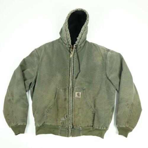 Destroyed Carhartt Hooded Jacket LARGE Faded Distr