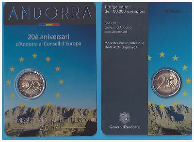 2 € Euro 2014-20 Years in the Council of Europe COINCARD ANDORRA
