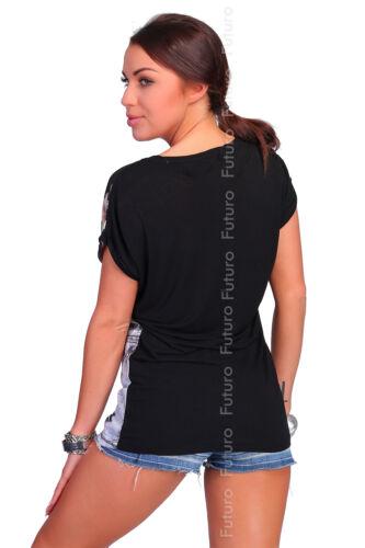 Party Black T-Shirt Follow Me Print Sequins Crew Neck Tunic Top Sizes 8-12 FB131