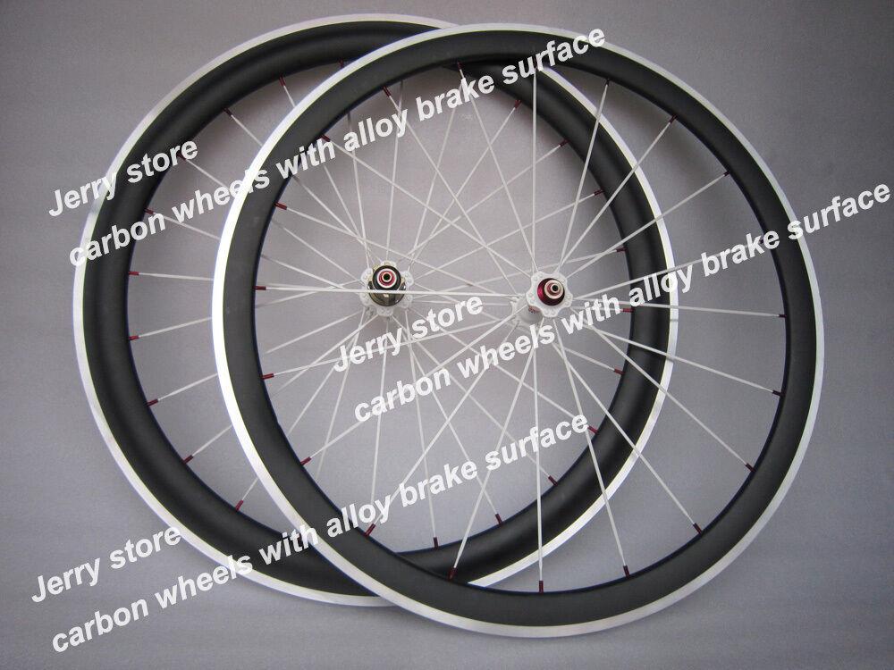 Speedcarbon 38mm clincher full carbon fiber bicycle road wheels alloy brake 700C