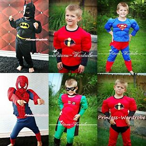 Halloween-Children-Muscle-Costume-Super-Hero-Bat-Spider-Dress-Up-Party-Clothing