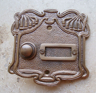 Geschenknet Antik Messing Klingel 1 Jugendstil Klingelschild Klingelplatte  K20A