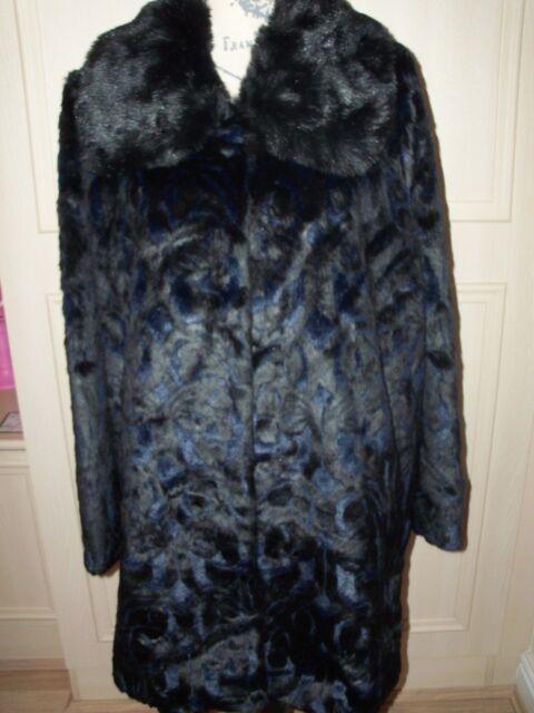 NEW DENNIS BASSO Faux Fur Coat Size UK XL Black / Blue