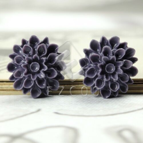 4//12pcs Resin Flower Flatback Cabochons Cameo Scrapbooking 17x17x8mm YBRB547