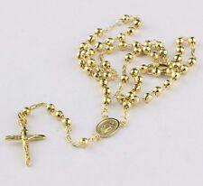 "11.70 grams Solid 14k Yellow Gold Diamond Cut Beads 4mm Prayer Rosary 18"""