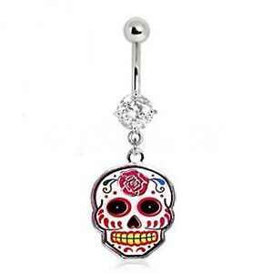 Belly Ring Sugar Skull White w//Pink Rose Gemmed Dangle Naval Steel Body Jewelry