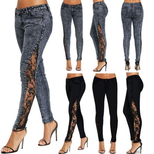 NUOVO da DONNA Jeans in Pizzo Lato Vita Bassa Aderente Denim Pantaloni Lunghi