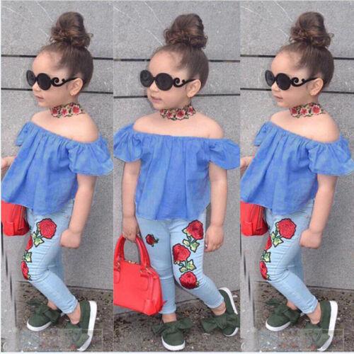 Denim Jeans Pants Clothes Set 2PCS Toddler Kids Baby Girls Outfits T-shirt Tops