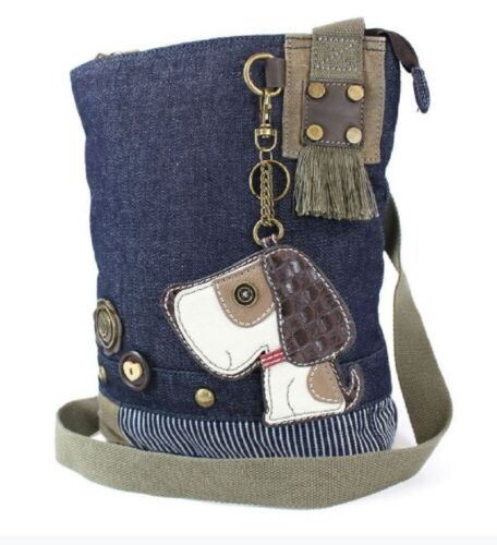 Chala Purse Handbag Denim Canvas Crossbody With Key Chain Tote Puppy Dog