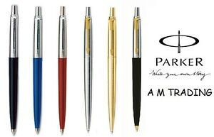 Parker-Jotter-Ballpoint-Pen-Black-Blue-Red-Silver-With-Gold-Clip-and-Gold