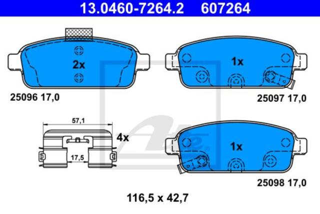 13.0460-7264.2 Bremsbelagsatz Bremsklotz Bremsklötze Bremse Bremsen NEU ATE