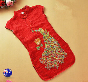 117638a8b856 Image is loading Kids-Girl-Chinese-Traditional-QIPAO-Costume-Tunic-red-