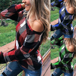 Womens-T-Plaid-Loose-Ladies-Sleeve-Shirt-Tops-Blouse-Off-Shoulder-Long-Print-Tee