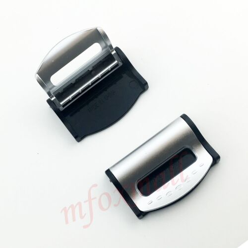 2X Auto Parts Seat Belt Safety Adjuster Holder Clip Clamp Stopper Buckle Silver