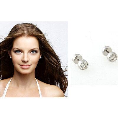 Women Lady Stainless Steel Round Rhinestone Ear Stud Earrings Fashion Jewellry