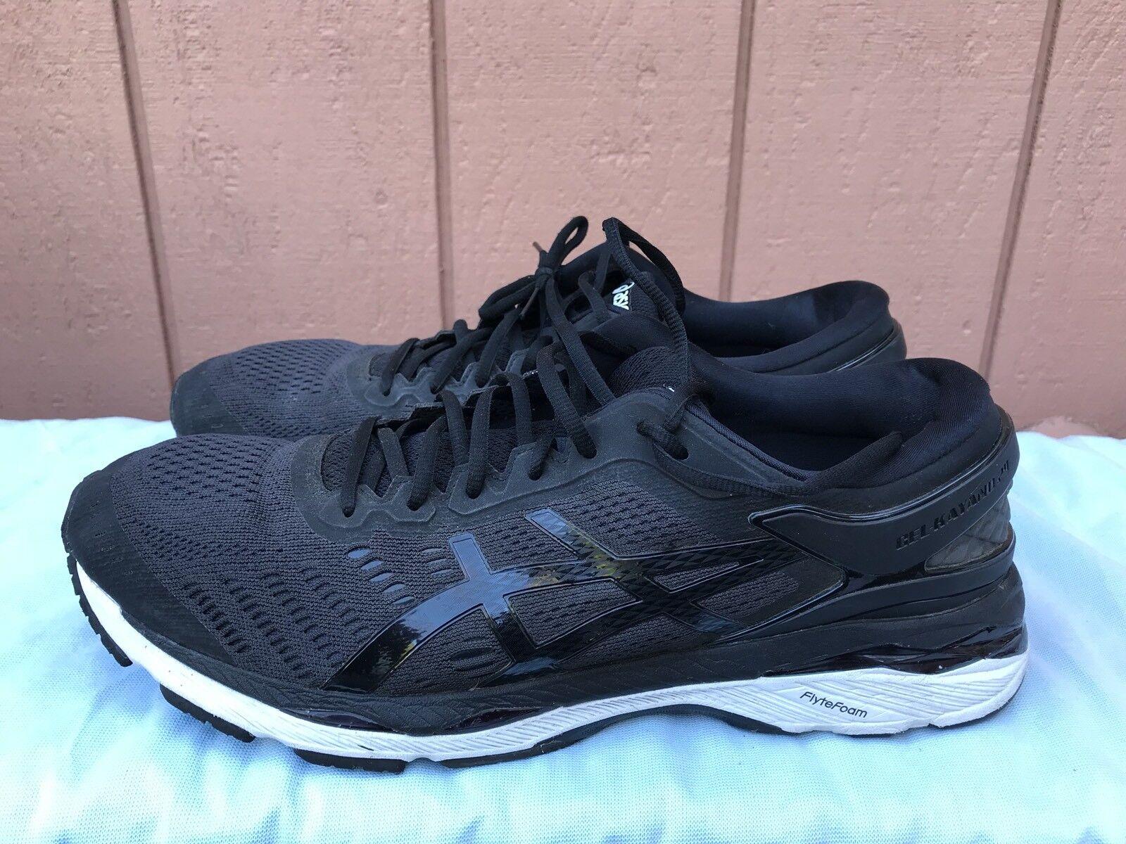 EUC Asics Mens Gel-Kayano 24 T749N.9016 Men's Size US 13 Black Running Shoes A3