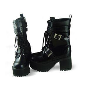 Schwarz Steam Punk Gothic Damen Stiefel Schuhe Stiefeletten Plateau