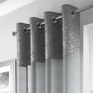 Madeira aplastado metaliic Lujo Voile Cortina Panel neto Ojales Anillo Superior Paneles