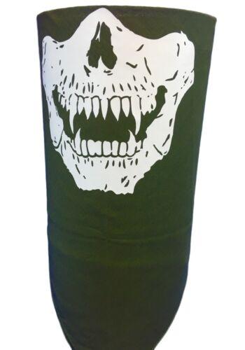 VELCRO®Brand Close OLIVE GREEN OD SKULL SCARY VAMPIRE FACE SKI BANDANA MASK NECK