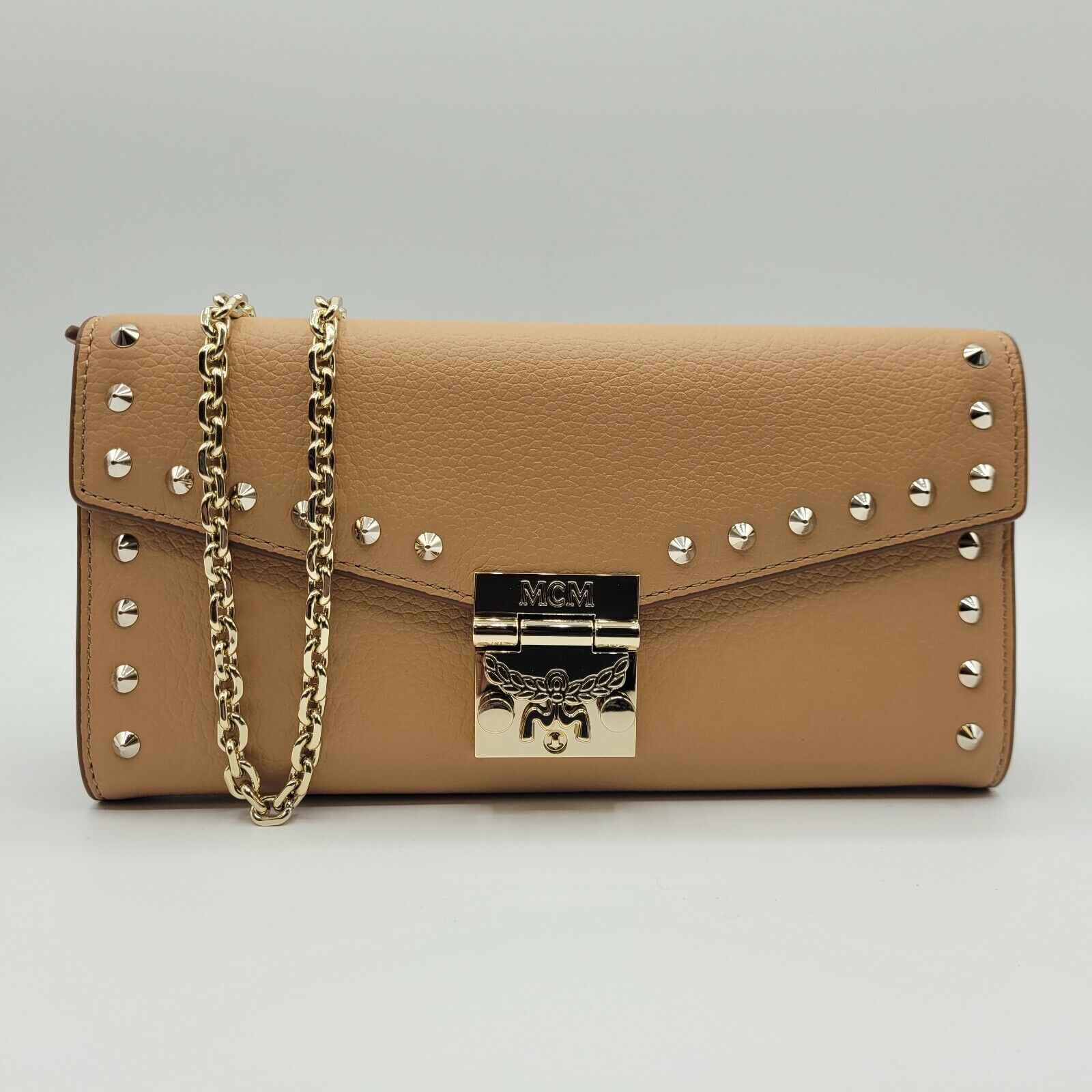 MCM Patricia Beige Studded Leather Crossbody Chain Wallet MYL9APA40BC001