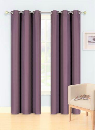 2PC Foam Lined Heavy Thick Blackout Grommet Window Curtain Panels KK92 Lilac