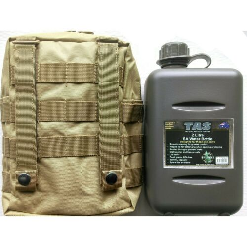 TACTICAL FORCE 2L SOUTH AFRICAN MILITARY CANTEEN KHAKI MOLLE POUCH COMBO