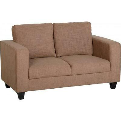 2 Seater Sofa Small Fabric Dark Sand Colour Settee LivingRoom Guest Room Seating