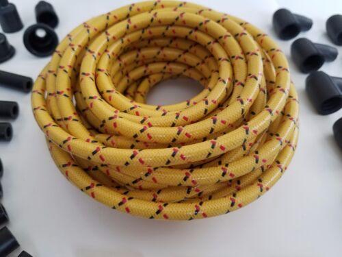 7mm DIY Universal Cloth Covered Spark Plug Wire Kit Vintage Wires v8 Black Red