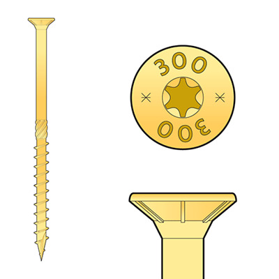 Holzschrauben Senkkopf Torx CS gelb Spanplatten Konstruktionsschrauben
