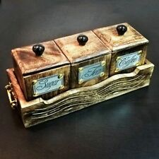 Wooden Handcrafted Sugar Tea Coffee 3 Piece BOX/ Canister With Tray, Handicraft