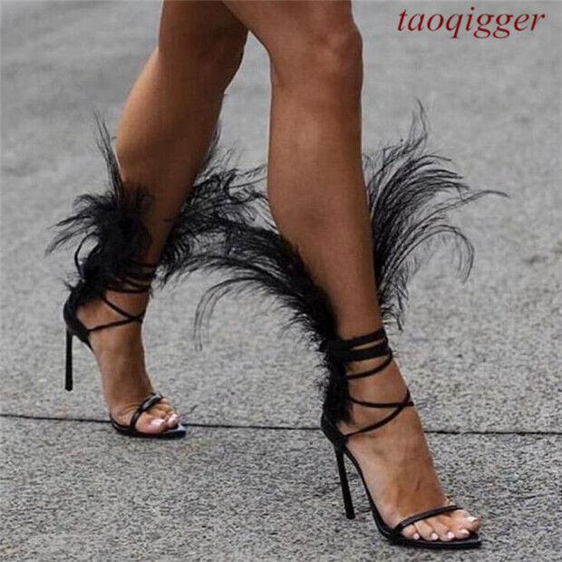 2019 Mujer Cuero Tobillo con Tiras Tiras Tiras Tacones Runway zapatos sólido Sandalias De Pluma T33  artículos de promoción