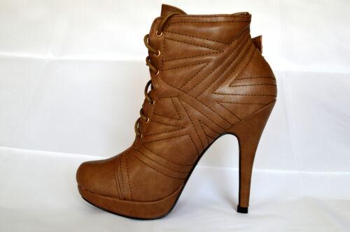 Damen Schuhe Stiefeletten Boots Stiefel High Heels Khaki Schnürschuhe A.N66