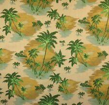 """P KAUFMANN PALM TREES SAND GREEN TROPICAL FURNITURE FABRIC BY THE YARD 54""""W"""