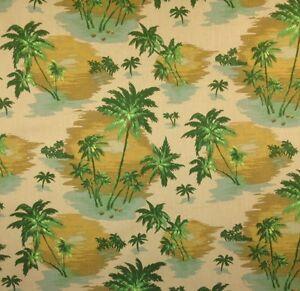 "P KAUFMANN KEYWEST COCOA STRIPE GREEN BROWN FURNITURE FABRIC BY THE YARD 54/""W"