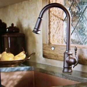 Moen Woodmere Oil Rubbed Bronze High Arc Pull Down Spray Kitchen - Oil rubbed bronze pull down kitchen faucet